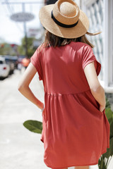 Summer Dress in Dusty Rose Back View