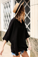 Linen Tunic in Black Side View