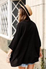 Linen Tunic in Black Back View