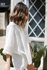 Linen Tunic in Ivory Side View