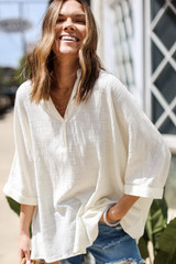 Ivory - Linen Tunic in Ivory Front View