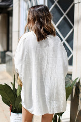 Linen Tunic in Ivory Back View