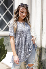 Grey - Scoop Neck Babydoll Top from Dress Up