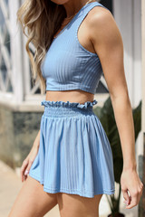 Ribbed Shorts in Blue Side View