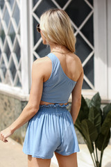 Ribbed Shorts in Blue Back View
