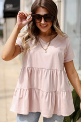 Blush - Model wearing a Tiered Babydoll Tee