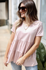 Blush - Dress Up model wearing a Tiered Babydoll Tee