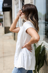 Tiered Babydoll Tee in White Side View