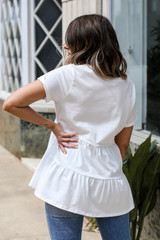 Tiered Babydoll Tee in White Back View