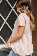 Tiered Babydoll Tee in Blush Side View