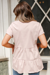 Tiered Babydoll Tee in Blush Back View
