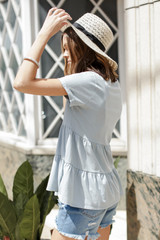 Tiered Babydoll Tee in Light Blue Side View