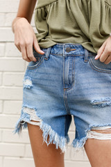 Distressed Denim Mom Shorts Front View