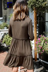 Tiered Dress in Olive Back View