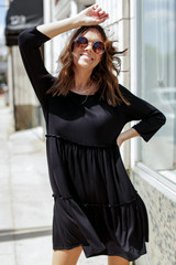 Tiered Dress in Black Front View