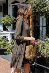 Tiered Dress in Olive Side View