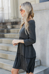 Tiered Dress in Charcoal Side View