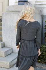 Tiered Dress in Charcoal Back View
