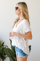 Surplice Tee in White Side View
