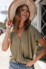 Surplice Tee in Olive Front View