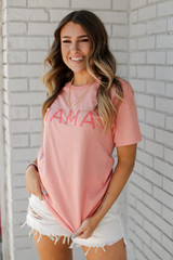 Dress Up model wearing the Peach Mama Graphic Tee