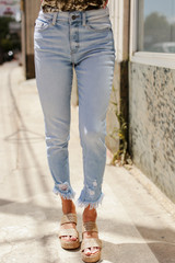 Light Wash - Kancan High Waist Distressed Skinny Jeans
