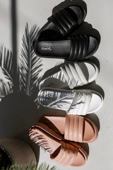 Flat Lay of all three colors of Platform Slide Sandals