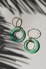 Mint - Acrylic Drop Earrings on a white background