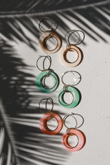 Flat Lay of all 3 colors of Acrylic Drop Earrings
