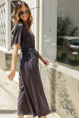 Wide Leg Jumpsuit in Charcoal Side View