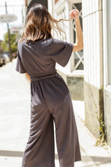 Wide Leg Jumpsuit in Charcoal Back View