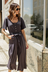 Wide Leg Jumpsuit in Charcoal Front View
