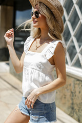 Ruffled Babydoll Tank Side View