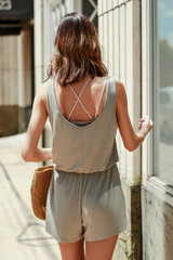 Jersey Romper in Olive Back View