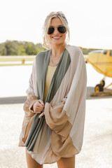 Color Block Kimono in Taupe Front View