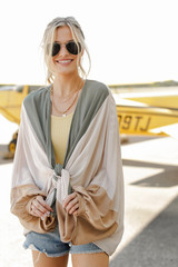 Model wearing a Color Block Kimono in Taupe