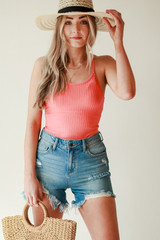 Coral - Dress Up model wearing a Ribbed Bodysuit with deim shorts