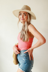Ribbed Bodysuit in Coral Side View