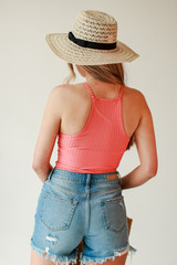 Ribbed Bodysuit in Coral Back View