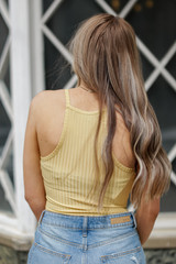 Ribbed Bodysuit in Yellow Back View
