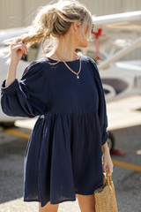 Navy - Linen Babydoll Dress from Dress Up