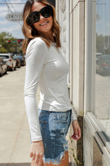 Basic Long Sleeve Tee in Ivory Side View