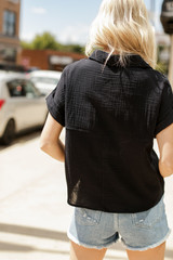 Cropped Linen Blouse in Black Back View