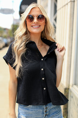 Cropped Linen Blouse in Black Front View