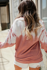 Tie-Dye Pullover in Mauve Back View