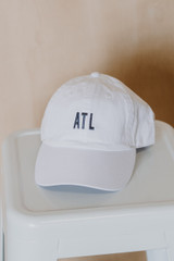 ATL Baseball Hat in White Front View