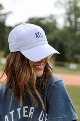 ATL Baseball Hat in White Side View