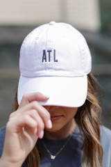 ATL Baseball Hat in White Front View on model