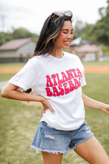Model wearing the Atlanta Baseball Graphic Tee