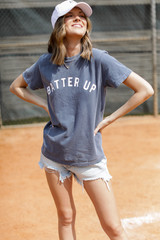 Model wearing the Batter Up Graphic Tee